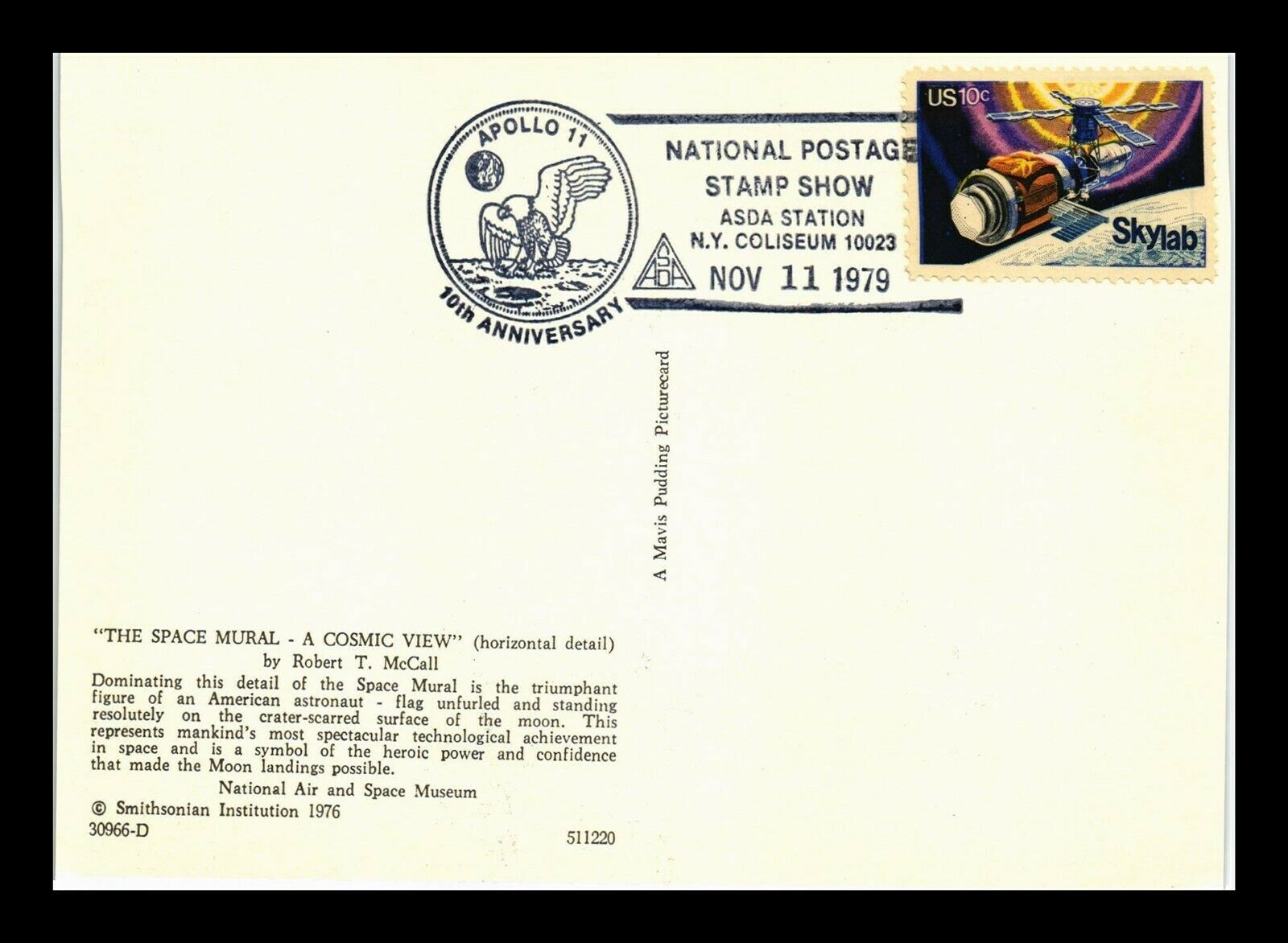 DR JIM STAMPS US POSTCARD APOLLO 11 ASDA STAMP SHOW NEW YORK CONTINENTAL SIZE - $0.25