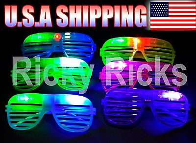 24 Light-Up Shutter Glasses LED Shades Sun Glasses Flashing Rock Wedding - Light Up Shutter Shades