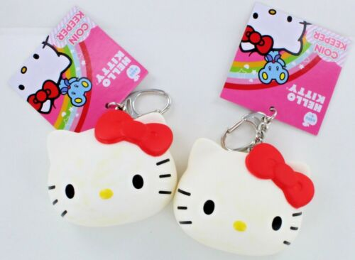 2 HELLO KITTY COIN KEEPERs Keychain Keyring SANRIO Change Purse Key Ring Chain