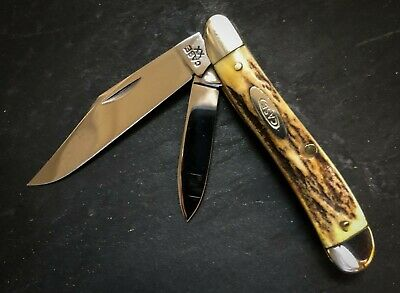 CASE XX 5220 Peanut Knife India Stag Carbon Steel '40-'64 Vintage Near MINT RARE