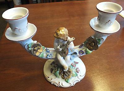 Wunderschöner 2-armiger Kerzenleuchter Engel mit Mandoline, Schierholz Porzellan