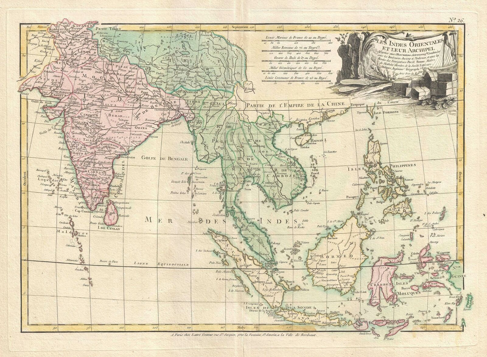 1778 Bonne Map of India Southeast Asia and The East Indies Thailand Borneo