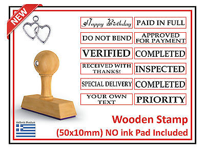 5 Wood Custom Rubber Stamp Ink Pad Priority Paid Promo Verified Thanks Special
