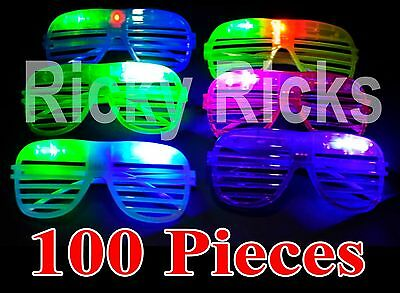 100 LED Shutter Glasses Light Up Shades Flashing Rave Wedding Rock Party (Glow Sticks Glasses)