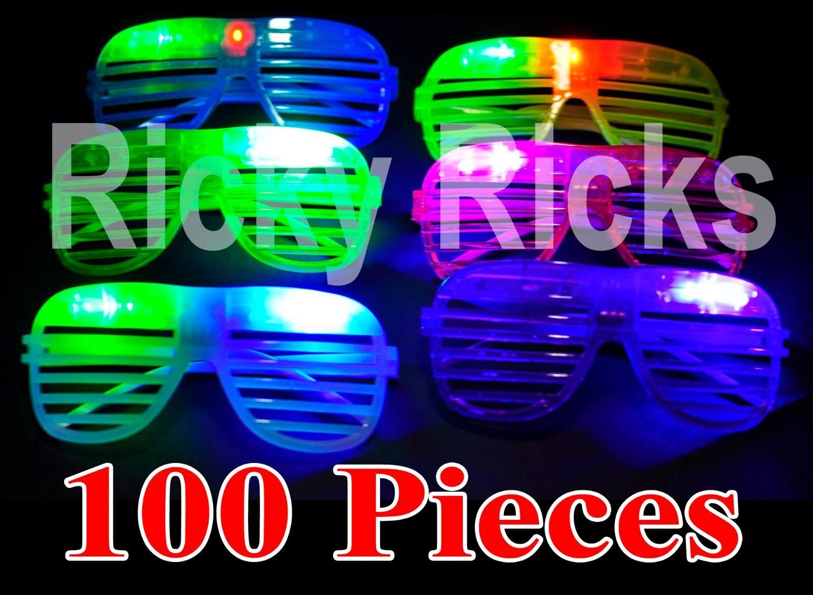 100 Led Shutter Glasses Light Up Shades Flashing Rave Wed...