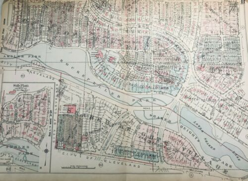 1927 Original Historic Cleveland Heights Shaker Heights Plat map. Cuyahoga Cty