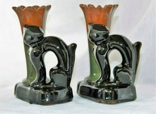~ Pair (2) MCM BLACK CAT POTTERY CANDLE HOLDERS Collectable HALLOWEEN ~