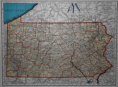 L@@K! Vintage 1942 World Atlas Colored Map of Pennsylvania PA  & Oregon OR OLD