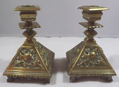 Pair of Vintage Solid Cast Brass Decorative Candlesticks
