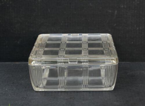 "Hazel Atlas Clear Criss Cross Depression Glass Square Refrigerator Dish  8 1/2"""