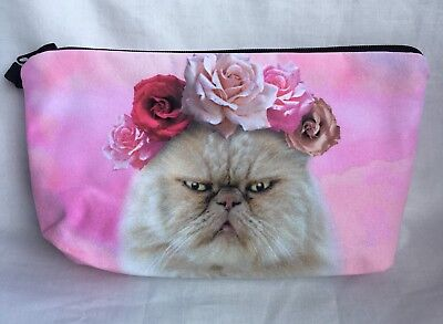 Fashion Pretty Kitty Make up Case/ Cosmetic Makeup Bag/Angry Cat/Cute/Flowers