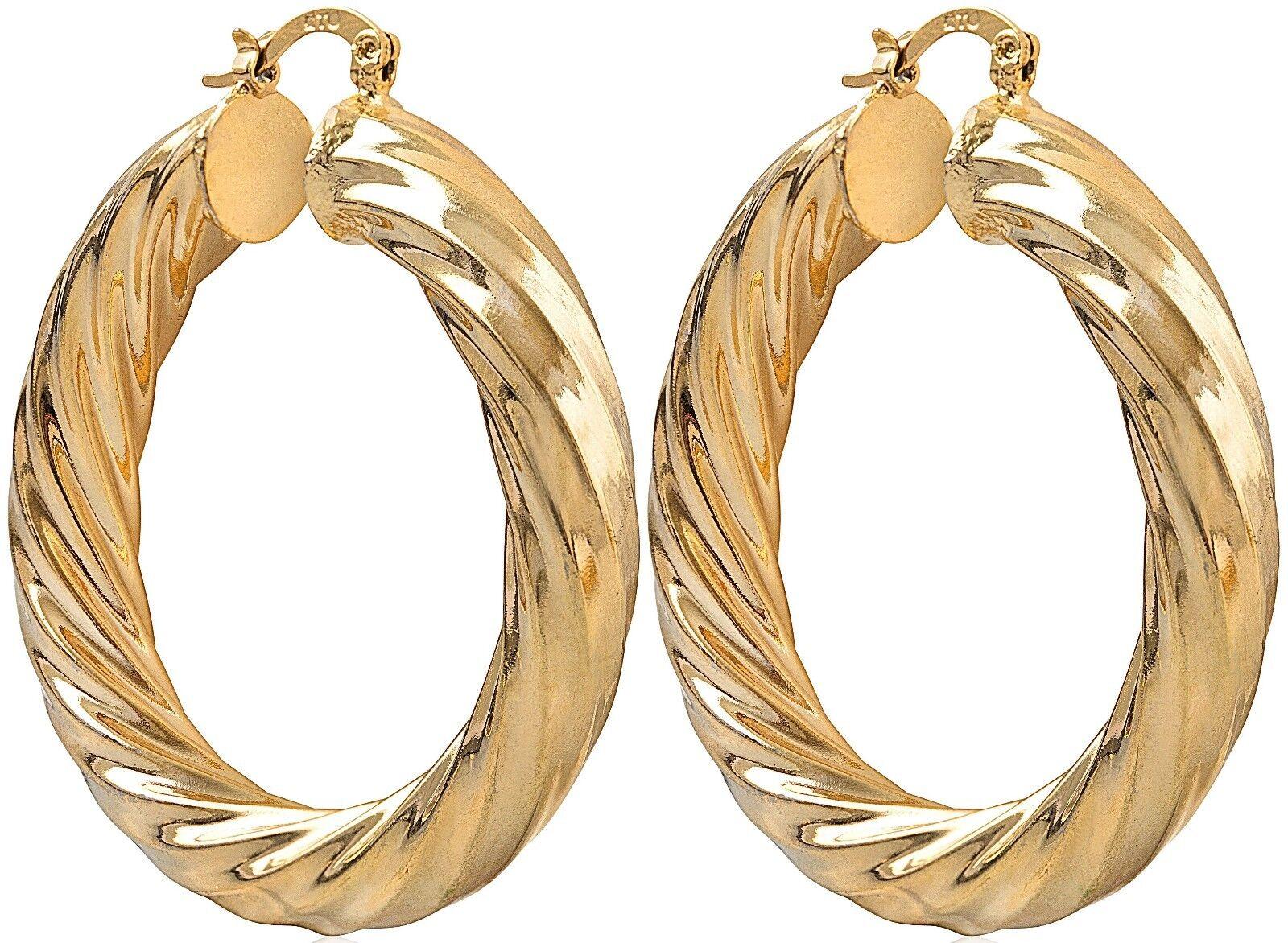 LARGE HOOP EARRINGS LADY WOMENS GOLD FILLED TWIST CREOLE EAR HOOPS