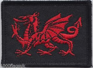 Wales Welsh Dragon On Black Background Flag Embroidered Patch Badge