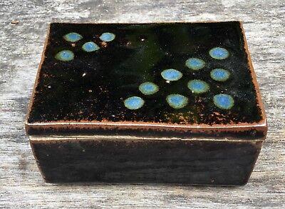 Vintage Valerie Lee Studio Pottery Tenmoku Glaze Japanese Influence Lidded Box 1