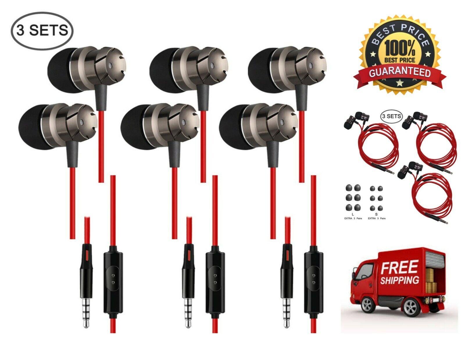 3 Pack Earphones Wired Lightweight Earbuds 3.5 mm in-Ear Hea