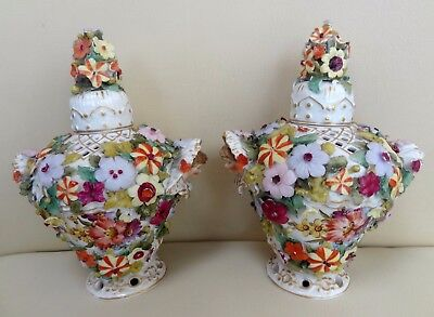 Pair of 19th Century Porcelain Masked Frill Vases with Encrusted Flowers