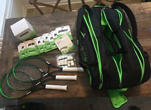 3-Prince TeXtrem Racquets/ Tour Challenger Bag and Accessories