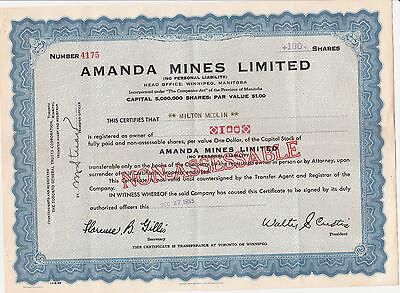 Amanda Mines Ltd, (CAN) 1955 blau