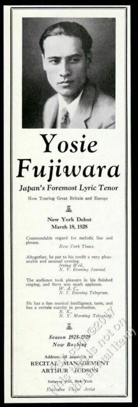 1928 Yoshie Fujiwara photo opera recital tour booking vintage trade print ad