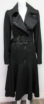 NWT YSL Yves Saint Laurent Women's Belted Black Trench Coat Jacket size 44 US 12