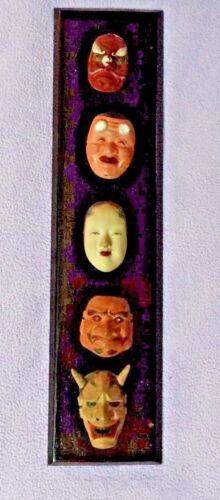 japanese mask set of 5 on wood antique rare