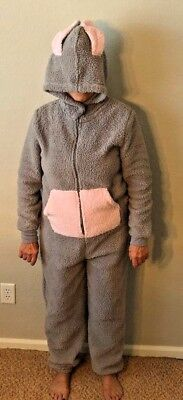 Gray Pink Plush Size M Adult Costume Zip-up One Piece Hooded Easter Bunny Suit - Adult Pink Bunny Suit