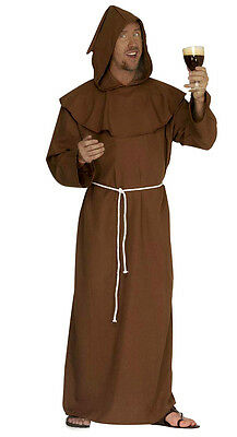 Mens Friar Tuck Costume Halloween Fancy Dress Medieval Monk & Brown Sandals S-XL