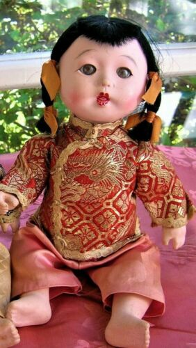 """VINTAGE COMPOSITION ASIAN CHINESE JAPANESE ORIENTAL GIRL DOLL 11"""" UNMARKED"""