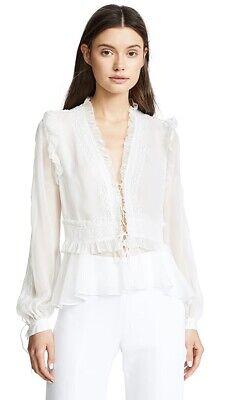 NWOT Jonathan Simkhai Mixed Trim Silk Blouse with Long Sleeves XS
