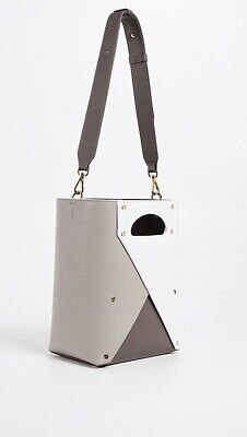 Yuzefi Pablo Grey White Leather Tote Shoulder Bag
