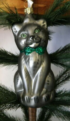 Cat/Kitten/Kitty Gray w Green Collar/Eyes Blown Glass Christmas Ornament Germany