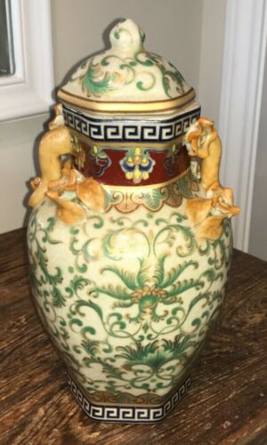 GINGER JAR TEMPLE JAR CRACKLE GLAZE GREEN GOLD SCROLL GREEK KEY ROSE FIGURAL