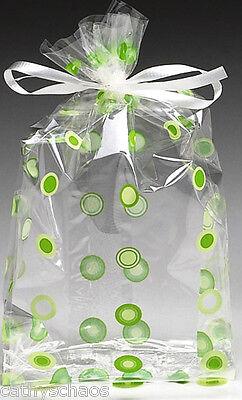 Lot 50 Cello Cellophane Green Circles Polka Dots School Candy Party Gift Bags