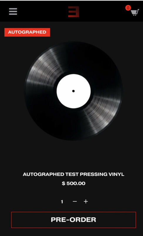 "EMINEM ""MUSIC TO BE MURDERED BY"" VINYL 12"" SIGNED TEST PRESSING- RARE- SOLD OUT!"