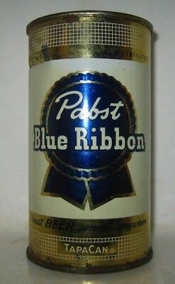 Old 1950's PABST BLUE RIBBON FLAT TOP BEER CAN Peoria Heights, Illinois