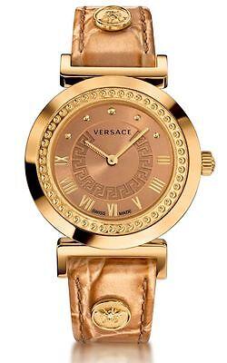 Versace Women's P5Q80D999 S999 Vanity Gold IP Steel Gold Leather Wristwatch