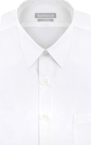 Van Heusen Men's Poplin Fitted Solid Point Collar Dress Shir