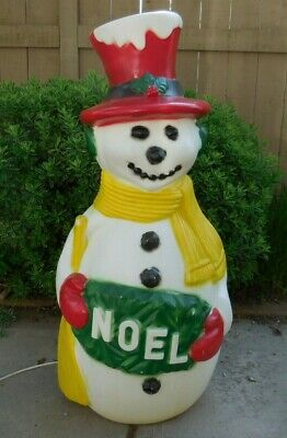 """Rare Vintage Drainage Co. Blow Mold 38"""" Red Hat Snowman Christmas Light Up"""