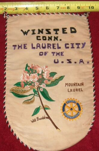 VINTAGE Rotary International Club wall banner flag  WINSTED CONNECTICUT