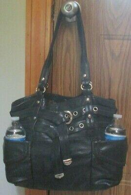 B. Makowsky LARGE Black Leather SLOUCHY Shoulder Bag Purse Handbag - EXCEL+