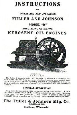 Fuller Johnson Model K Kerosene Oil Engine Instruction Book Motor Throttle