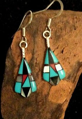 Native American Sterling Silver Turquoise Inlaid Dangle Earrings