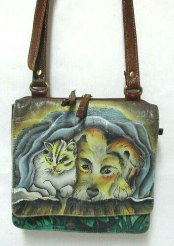 Sharif painted Leather Cat Kitty & Dog shoulder cross-body bag organizer