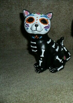 New Halloween Day Of The Dead Skull Skeleton Glitter Cat Figure Statue