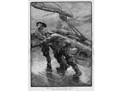 SAILORS MAKING HOME FOR CHRISTMAS IN A STORM METEOROLOGY SAIL BOAT RAIN GEAR