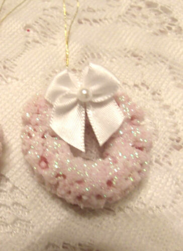 Pink MINI Wreath Tree Ornament Shabby Bottle Brush Miniature Pearl Dollhouse