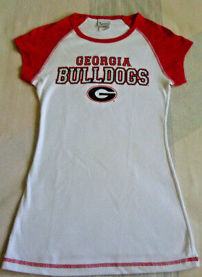 M. Campus Lifestyle Georgia Bulldogs Shirt,White w/Red Sleeves,Letters,Rhineston