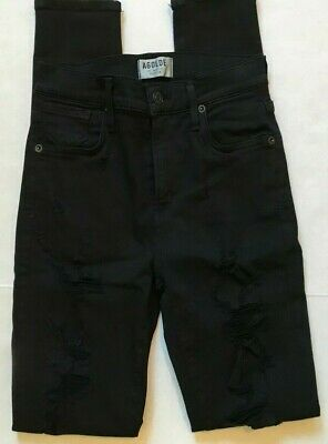 A GOLD E JEANS SOPHIE HIGH RISE SKINNY MOONSTRUCK DISTRESSED BLACK 25 X 29