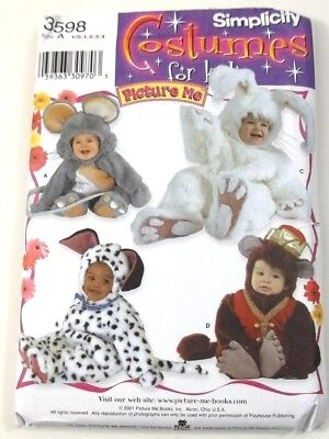 Simplicity 3598 Costumes  Mouse Monkey Dog Bunny Toddler Size 6 Months to 4 - Monkey Dog Costumes