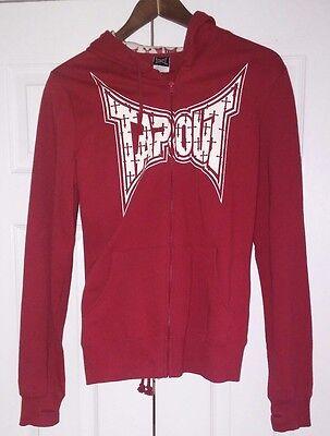 SUPER RARE Vintage TAPOUT Hoodie Sweatshirt Full zip sweatpant suiT L red woman.